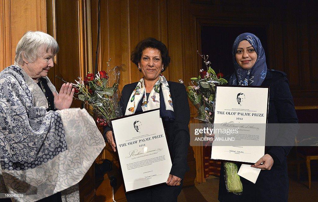 SWEDEN-TUNISIA-SAUDI-ARABIA-HUMAN RIGHTS-OLOF PALME PRIZE : Nieuwsfoto's