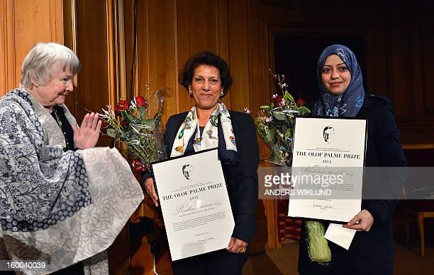 Tunisian lawyer Radhia Nasraoui Samar Badawi wife of SaudiArabian lawyer and human rights activist Waleed Abu alKhair receive the Olof Palme Prize...