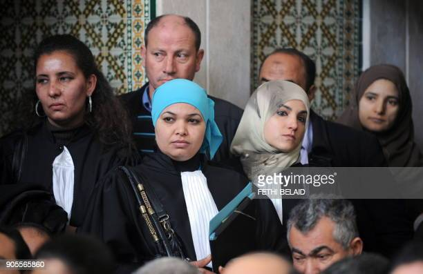 Tunisian lawyera and human rights activists attend a meeting in Tunis on December 29 2010 to express their solidarity with the residents of Sidi...