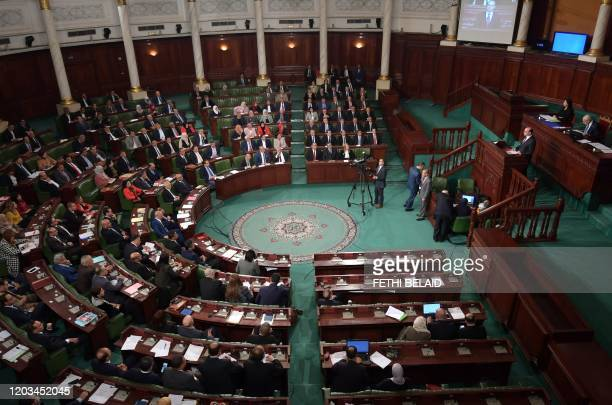 Tunisian MPs attend a parliament plenary session in the capital Tunis on February 26 2020 for a confidence vote Tunisia is holding a confidence vote...