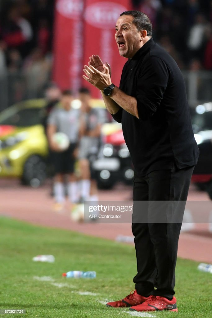 Tunisian national football team coach Nabil Maaloul reacts during his team's World Cup 2018 qualifying football match against Libya on November 11, 2017 at the Rades Olympic Stadium in Tunis. /