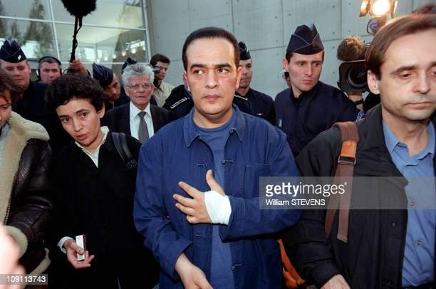 Tunisian Opposition Journalist Taoufik Ben Brik Arrives At Paris On April 5Th, 2000 In Paris, France. Ben Brik And Robert Menard