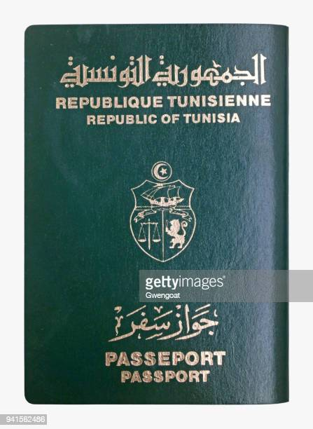 tunisian passport isolated on a white background - north africa stock pictures, royalty-free photos & images