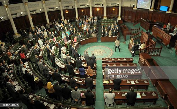 Tunisian politicians attend a parliament session at the Constituent Assembly on May 8 2013 in Tunis on the security situation in Kasserine the...