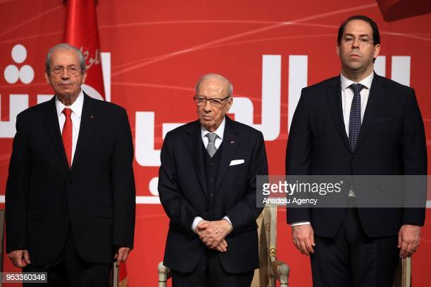 Tunisian President Beji Caid el Sebsi Tunisian Prime Minister Youssef Chahed Tunisian Parliament speaker Muhammed enNasir participate in the event to...