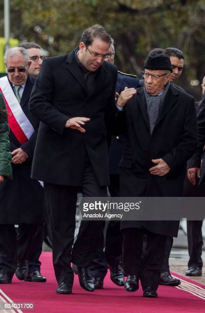 Tunisian President Beji Caid Essebsi and Tunisian Prime Minister Youssef Chahed attend the ceremony held for the 4th death anniversary of assasinated...