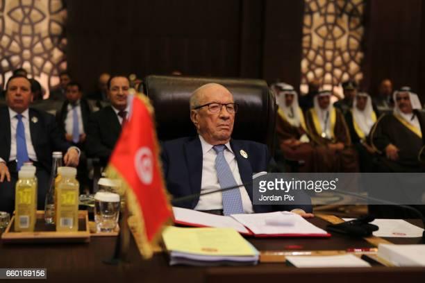 Tunisian president Beji Caid Essebsi attends during the Arab League summit in the Jordanian Dead Sea resort of Sweymah Jordan March 29 2017 Arab...