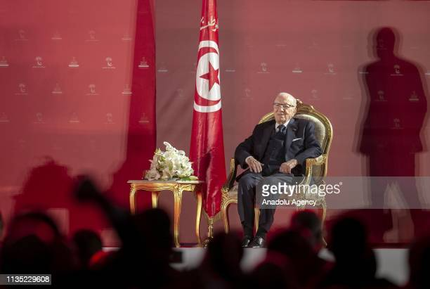 Tunisian President Beji Caid Essebsi attends to address supporters during the launch of his party Nidaa Tounes' congress in the coastal city of...