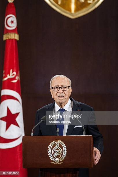 Tunisian president Beji Caid Essebsi delivers a speech at the Carthage Palace during the Independence Day celebrations marking the 58th anniversary...
