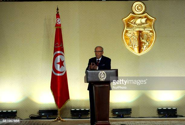 Tunisian President Beji Caid Essebsi delivers an official speech on May 10, 2017 in Tunis. Essebsi said that the army will protect the output of...