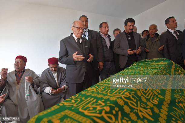 Tunisian President Beji Caid Essebsi prays during the funeral of the late Tunisian fashion designer Azzedine Alaia who died this month aged 77 in the...