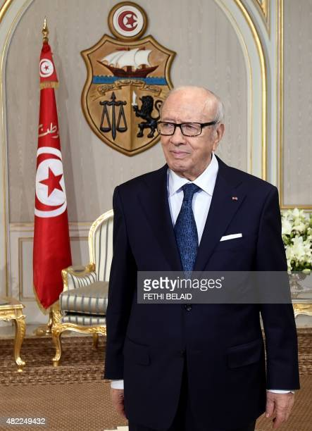 Tunisian President Beji Caid Essebsi waits for his meeting with German Defence Minister Ursula von der Leyen on July 29 2015 in Tunis' Carthage...
