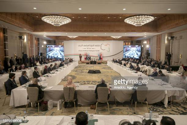 Tunisian President Kais Saied and UN Deputy Special Representative for Political Affairs in Libya, Stephanie Williams attend an opening session of...