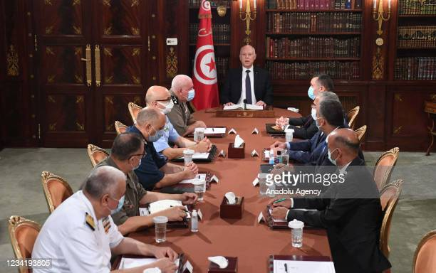 Tunisian President Kais Saied announces to assume executive authority in addition to suspending parliament at the Carthage Palace in Tunis, Tunisia...