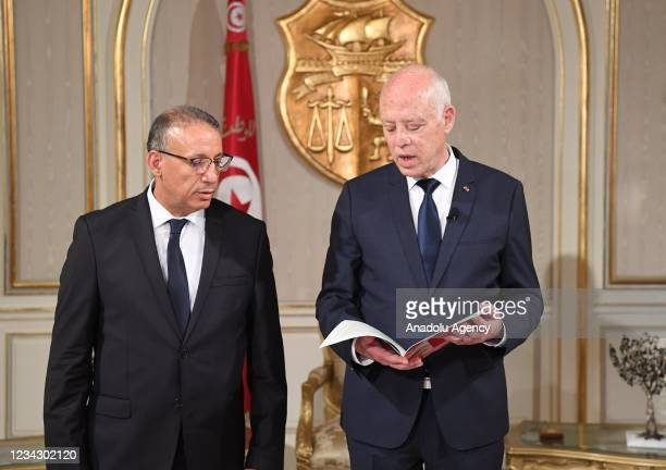 Tunisian President Kais Saied attends the oath taking ceremony of newly appointed Tunisian Interior Minister Reza Garsillavi at the Carthage Palace...
