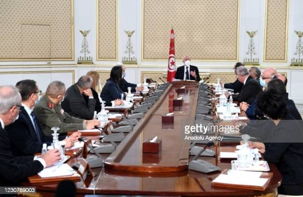 Tunisian President, Kais Saied chairs the National Security Council meeting to evaluate developments in health sector and politics in Tunis, Tunisia...