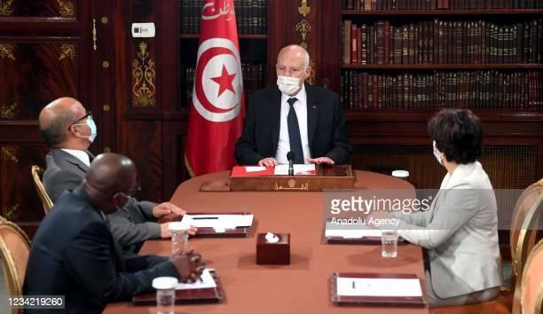 Tunisian President Kais Saied hold a meeting with President of the Tunisian Supreme Judicial Council Yusuf Buhari , CSM Members Melike al-Mezari and...