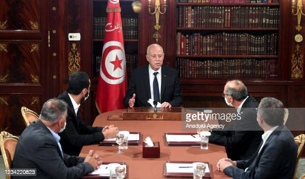 Tunisian President Kais Saied holds a meeting with Chairman of the Tunisian Union for the Defense of Human Rights Cemal Muslim , Chairman of the...