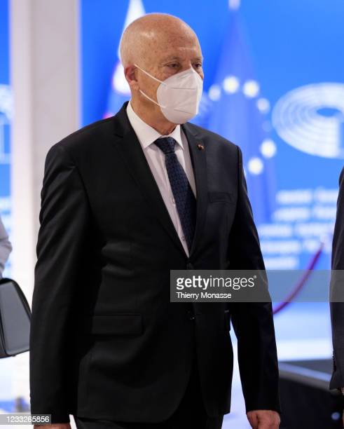 Tunisian President Kais Saied leaves the bilateral meeting in the European Parliament on June 4, 2021 in Brussels, Belgium.