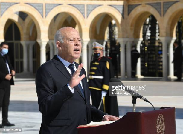 Tunisian President Kais Saied makes a speech during an event held within the 21st death anniversary of former President Habib Bourguiba, in Tunis,...