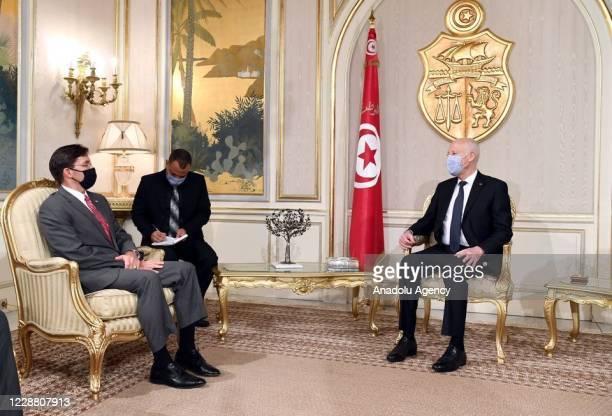 Tunisian President, Kais Saied receives U.S Secretary of Defense, Mark Esper in Tunis, Tunisia on September 30, 2020.
