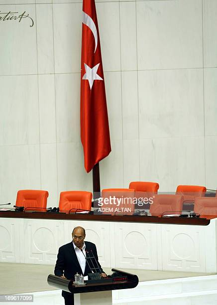 Tunisian President Moncef Marzouki addresses Turkish lawmakers at the Turkish parliament in Ankara on May 29 2013 The Tunisian is on the second day...
