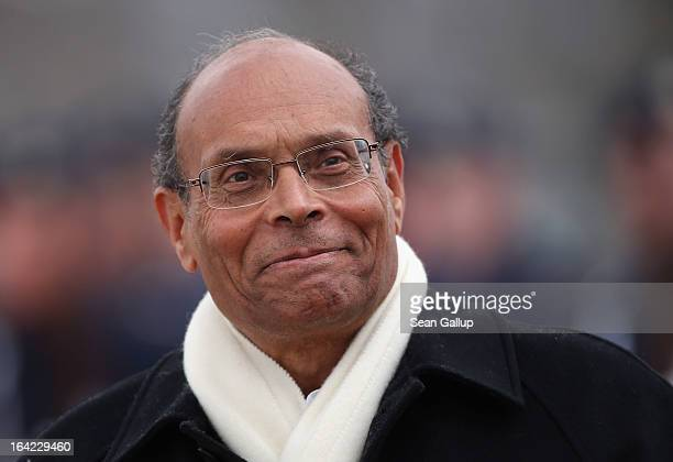 Tunisian President Moncef Marzouki arrives to meet with German President Joachim Gauck at Bellevue Palace on March 21, 2013 in Berlin, Germany....