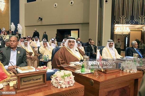 Tunisian President Moncef Marzouki Bahraini Foreign Minister Sheikh Khaled bin Ahmed alKhalifa alFujairah ruler Hamad Bin Mohammad and Jordanian...