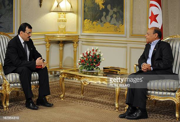 Tunisian President Moncef Marzouki meets with Tunisian prime minister designate Ali Larayedh on February 22 in Tunis Larayedh the Islamist interior...