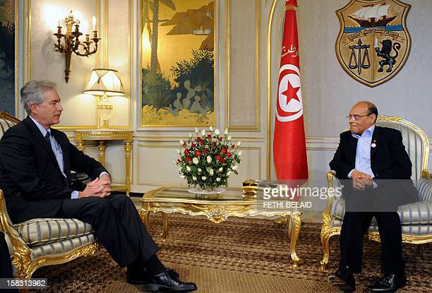 Tunisian President Moncef Marzouki meets with US Deputy Secretary of State William Burns in Tunis during the latter's official visit to Tunisia on...