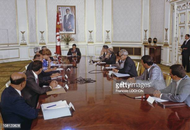 Tunisian President Zine elAbidine Ben Ali is pictured during a ministers council at Presidential Palace in on September 6th 1988 in Carthage Tunisia
