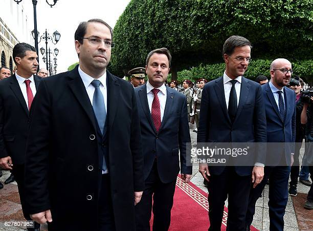 Tunisian Prime Minister Youssef Chahed Luxembourg's Prime Minister Xavier Bettel Dutch Prime Minister Mark Rutte and Belgian Prime Minister Charles...