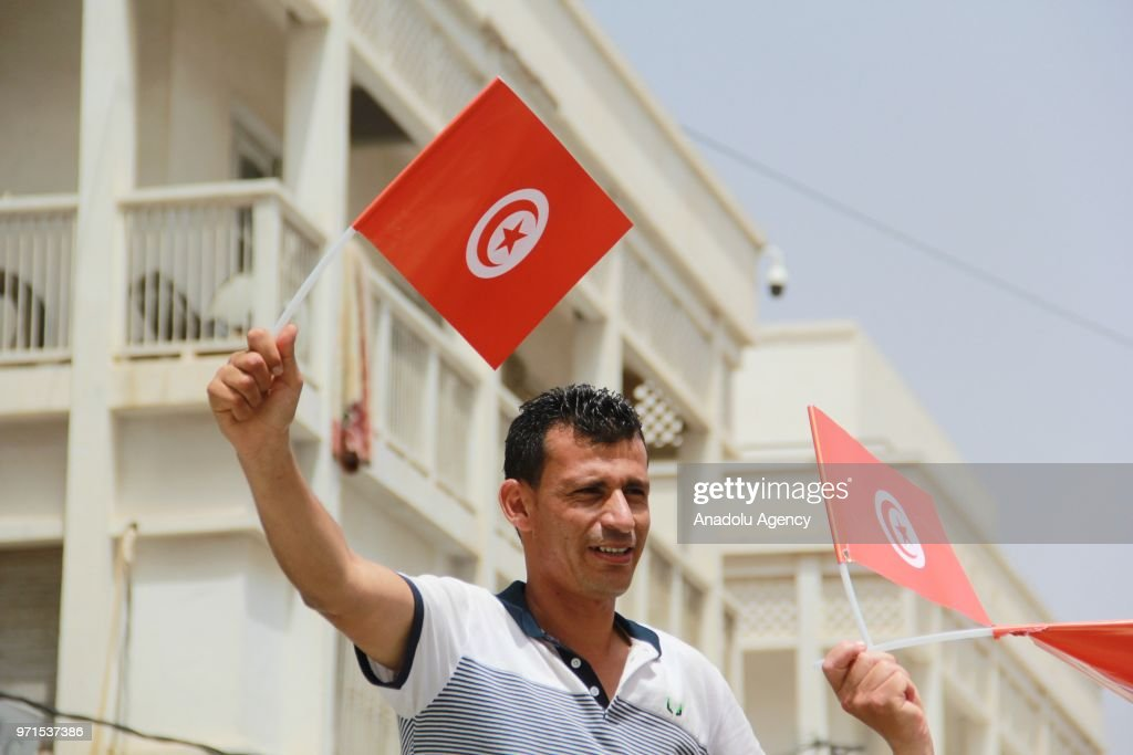 Protest in Tunisia in support of sacked Tunisian Interior Minister Lotfi Brahem : News Photo