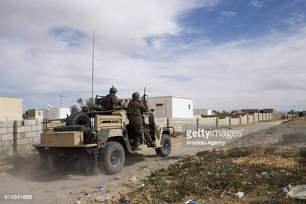 Tunisian security forces stage an operation against a terrorist group in Ben Gardane Town of Medenine Governorate of Tunisia on March 08 2016
