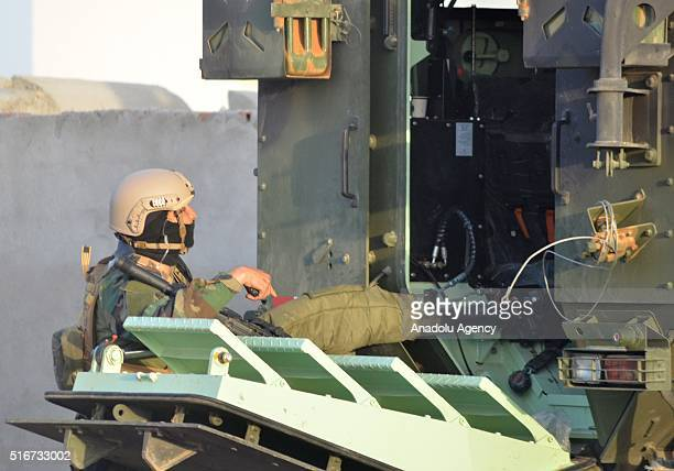 Tunisian security forces stage an operation against a terrorist group in Ben Gardane Town of Medenine Governorate of Tunisia on March 20 2016...