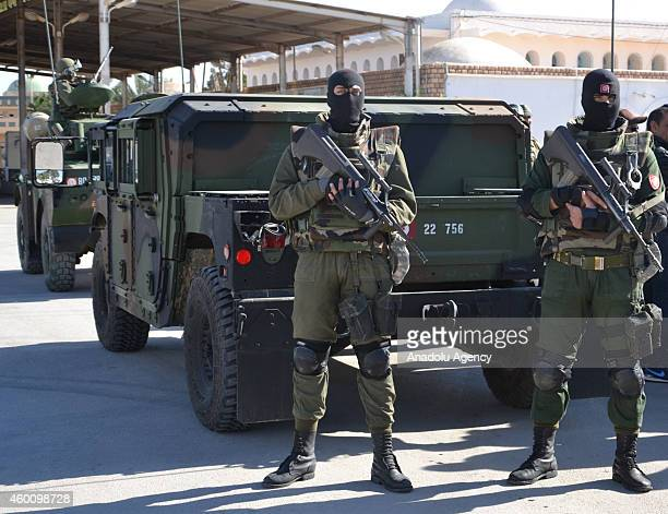 Tunisian security forces take security measures near Raj Jedir border crossing on the TunisianLibyan border after an air strike hit a Libyan militia...