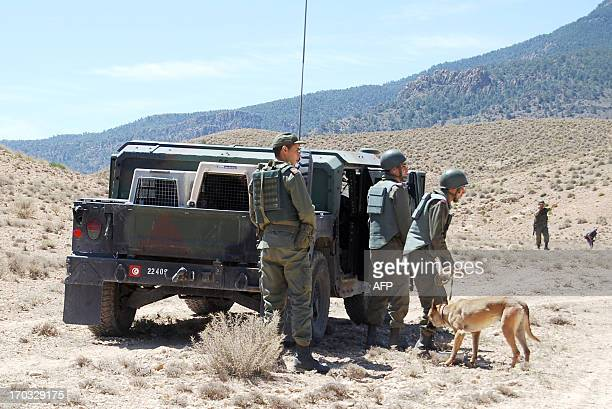 Tunisian soldiers use a sniffer dog as they to look for landmines on June 11 2013 in the Mount Chaambi region where the Tunisian army has been...