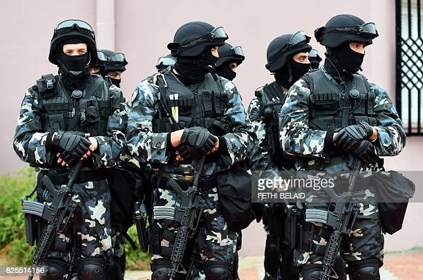 Tunisian special forces attend an official ceremony inside the barracks of the presidential security service in Gammarth a suburb of Tunis on...