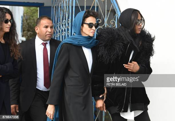 TunisianItalian model Afef Jnifen and British model Naomi Campbell attend the funeral of the late Tunisian fashion designer Azzedine Alaia who died...