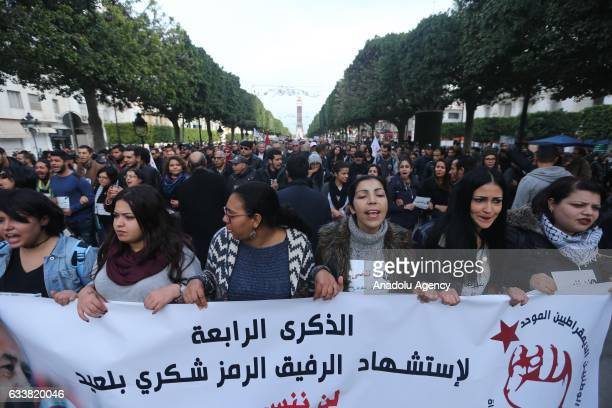 Tunisians gather during the death anniversary of the Chokri Belaid as they demand from Government to unveil the mystery of his death in Tunis Tunisia...