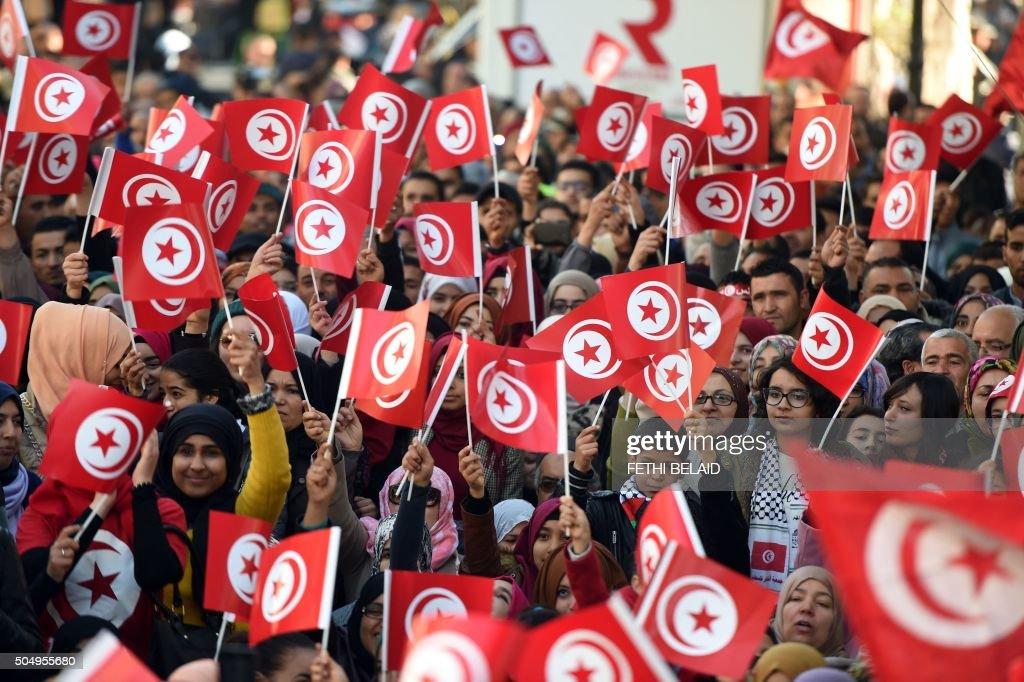 TOPSHOT-TUNISIA-POLITICS-REVOLUTION-ANNIVERSARY : News Photo