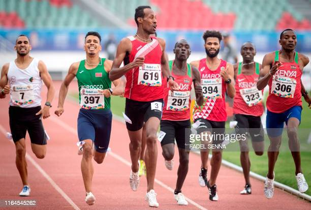 TOPSHOT Tunisia's Abdessalem Ayoni competes during the Men's 800m Final at the 12th edition of the African Games on August 28 2019 in Rabat