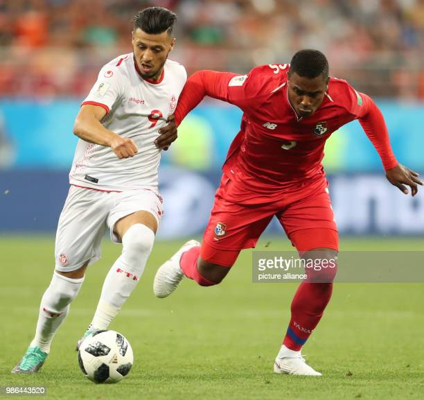Tunisia's Anice Badri and Panama's Harold Cummings vie for the ball during the FIFAWorld Cup 2018 Group G soccer match between Tunisia and Panama at...