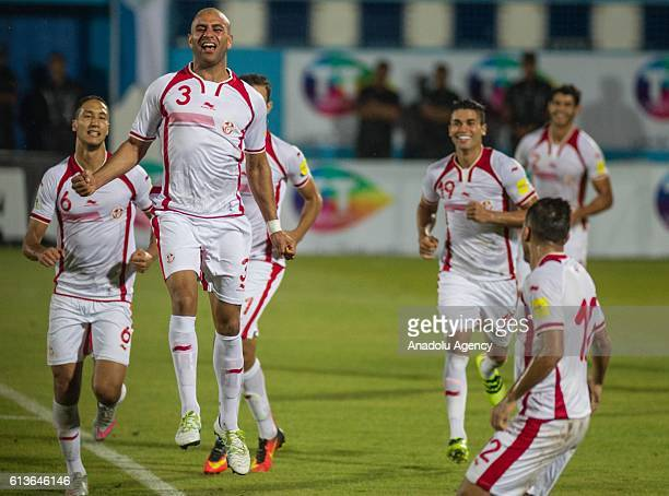 Tunisia's Aymen Abdennour celebrates his score during the World Cup 2018 qualifying football match between Tunisia and Guinea on October 9 2016 at...