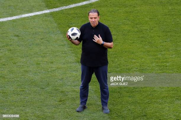 Tunisia's coach Nabil Maaloul stands on the pitch during a training session at the Mordovia Arena in Saransk on June 27 on the eve of their Russia...