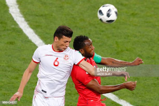 Tunisia's defender Rami Bedoui fights for the ball with Panama's forward Luis Tejada during the Russia 2018 World Cup Group G football match between...