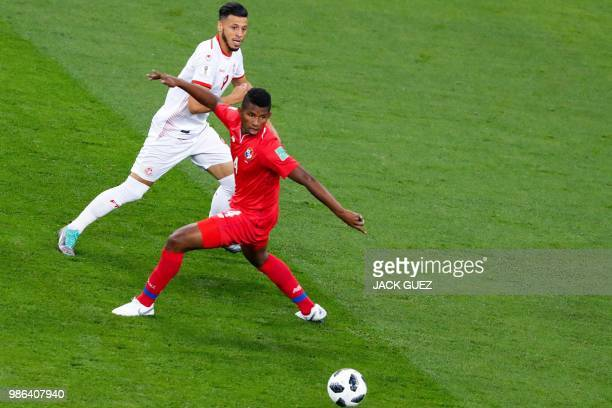 Tunisia's forward Anice Badri vies with Panama's defender Fidel Escobar during the Russia 2018 World Cup Group G football match between Panama and...