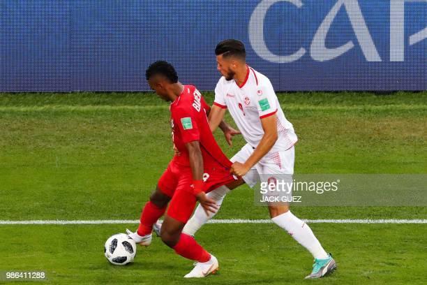 Tunisia's forward Anice Badri vies with Panama's midfielder Edgar Barcenas during the Russia 2018 World Cup Group G football match between Panama and...