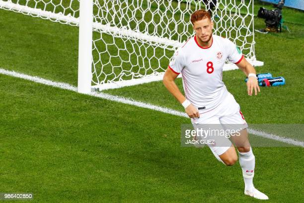 Tunisia's forward Fakhreddine Ben Youssef celebrates after scoring during the Russia 2018 World Cup Group G football match between Panama and Tunisia...