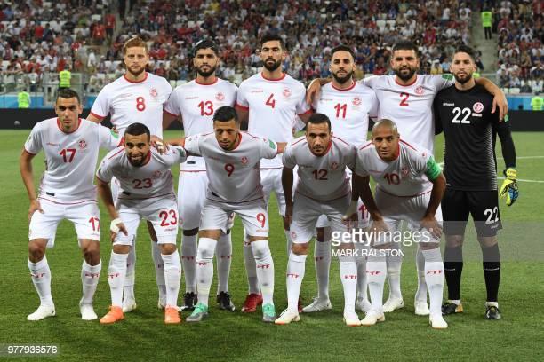 Tunisia's forward Fakhreddine Ben Youssef Tunisia's midfielder Ferjani Sassi Tunisia's defender Yassin Meriah Tunisia's defender Dylan Bronn...